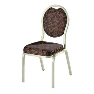 Como Oval Back Aluminum Stacking Side Chair with Handgrip