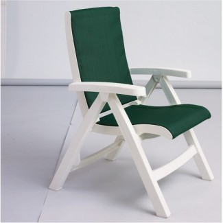 Restaurant Hospitality Poolside Furniture Jersey Midback Folding Sling Chair - White Frame