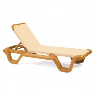 Restaurant Hospitality Poolside Furniture Marina Chaise Lounge Without Arms - Teakwood Frame