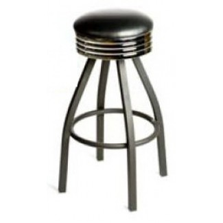 Retro Bar Stool with Black Powder Coat Frame - Black SL2137-BLK