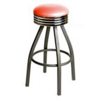 Retro Bar Stool with Black Powder Coat Frame - Red SL2137-RED