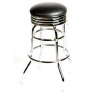 Retro Bar Stool with Double Rung Chrome Frame - Black SL2131-BLK