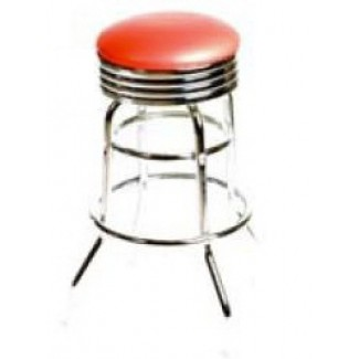 Retro Bar Stool with Double Rung Chrome Frame - Red SL2131-RED