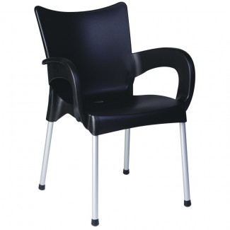 Romeo  Stacking Resin Arm Chair - Black