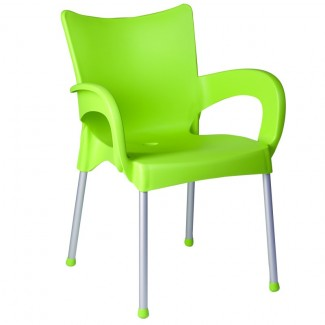 Romeo Stacking Restaurant Arm Chair in Light Green