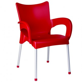 Romeo Stacking Restaurant Arm Chair in Red