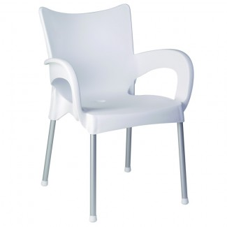 Romeo Stacking Resin Arm Chair - White