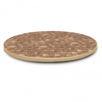 "60"" Round Laminate Table Top with Overlay Wood Edge"