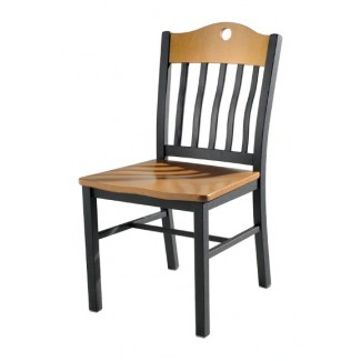 Side Chair with Steel Frame and Wood Seat 982
