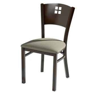 Side Chair with Upholstered Seat and Metal Back 948