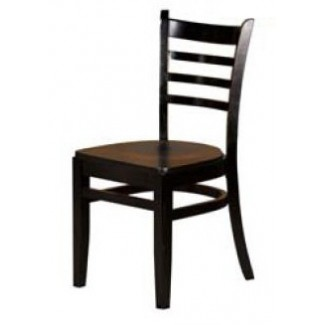 Solid Wood Ladder Back Dining Chair - Black WC101-BLK