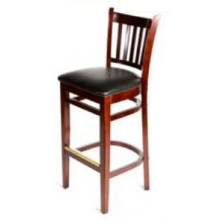 Solid Wood Vertical Back Bar Stool - Mahogany WB102-MH