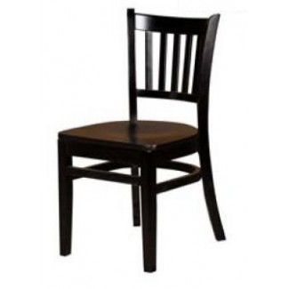 Solid Wood Vertical Back Dining Chair - Black WC102-BLK
