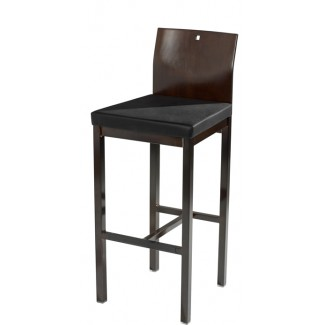 Square Bar Stool with Upholstered Seat and Wood Back