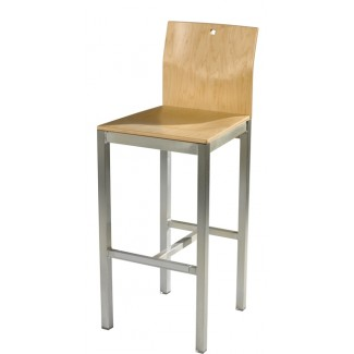 Square Bar Stool with Wood Seat and Back