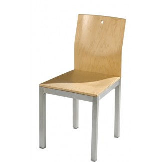 Square Side Chair with Wood Seat and Back