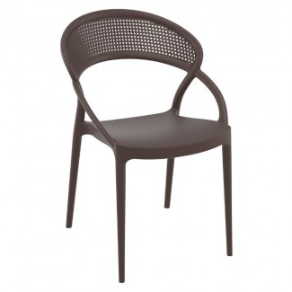 Sunset Resin Stacking Hospitality Dining Side Chair - Brown