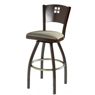 Swivel Bar Stool with Upholstered Seat and Decorative Back 901/948