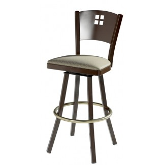 Swivel Bar Stool with Upholstered Seat and Decorative Back 902/948