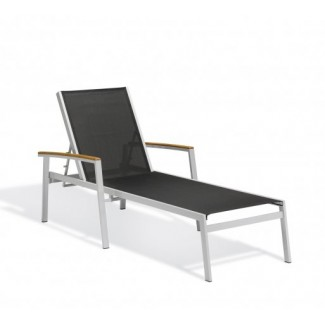 Carrillo Black Sling Chaise Lounge - Tekwood Natural
