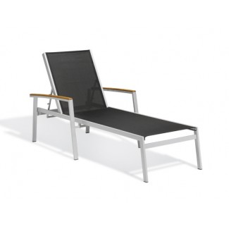Travira Black Sling Chaise Lounge