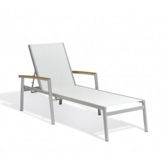 Carrillo Natural Sling Chaise Lounge - Teak