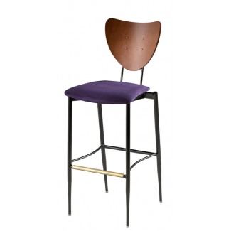 Cafe Flex Triangle Bar Stool with Upholstered Seat and Wood Back
