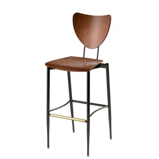 Cafe Flex Triangle Bar Stool with Wood Seat and Back