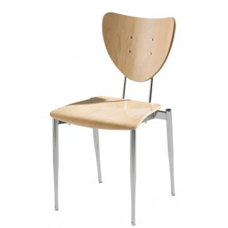 Cafe Flex Triangle Side Chair with Wood Seat and Back