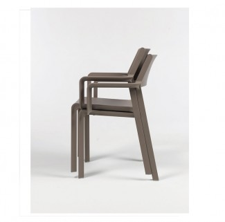 Trill Stackable Resin Hospitality Arm Chair - Stacking Demo Photo
