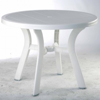 "Truva 42"" Round Restaurant Dining Table in White"