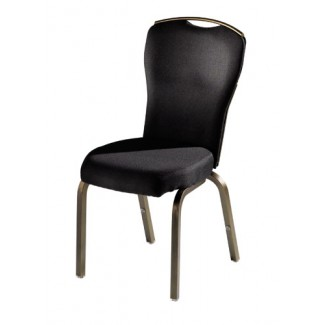 Vario Semi-Flared Back Aluminum Stacking Side Chair with Reeded Frame and Handgrip