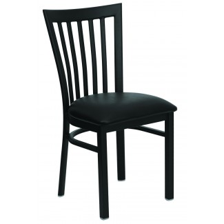 Vertical Slat Back School House Metal Dining Chair