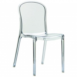 Victoria Stacking Restaurant Side Chair in Glossy White