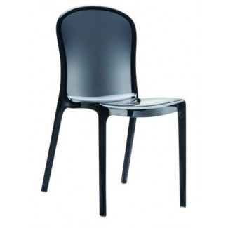 Victoria Stacking Resin Side Chair - Clear Black