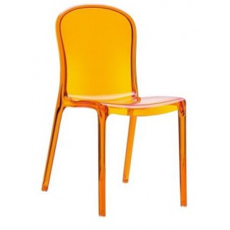 Victoria Stacking Restaurant Side Chair in Clear Orange