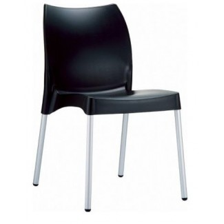 Vita Stacking Resin Side Chair - Black