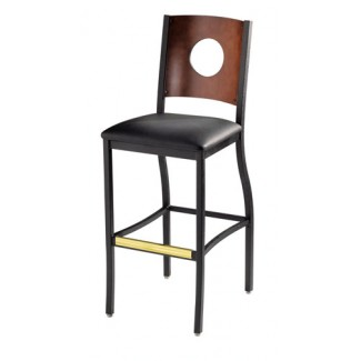 Wagner Bar Stool with Upholstered Seat and Full Moon Back 823