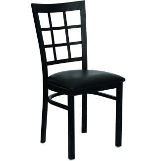 Window Pane Back Metal Dining Chair
