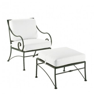 Sheffield Wrought Iron Lounge Chair with Cushions