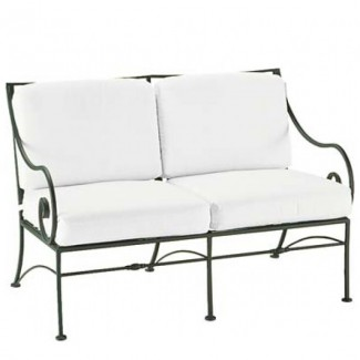 Wrought Iron Hospitality Lounge Chairs Sheffield Loveseat with Cushions