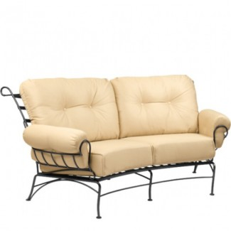 Wrought Iron Hospitality Lounge Chairs Terrace Crescent Loveseat