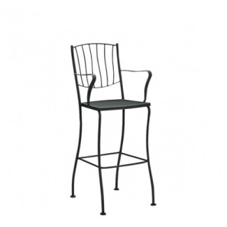 Aurora Wrought Iron Bar Stool with Arms