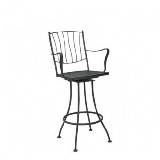 Aurora Wrought Iron Swivel Bar Stool with Arms