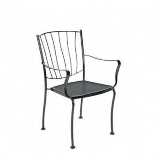 Aurora Wrought Iron Stacking Arm Chair