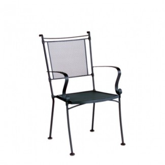 Bradford Wrought Iron Stacking Arm Chair