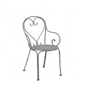 Wrought Iron Restaurant Chairs Parisienne Arm Chair - Pattern Metal Seat