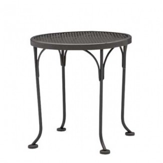 "17"" Round Wrought Iron Mesh Top End Table"