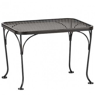 "18"" x 24"" Rectangular Wrought Iron Mesh Top Side Table"
