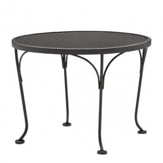 "24"" Round Wrought Iron Mesh Top End Table"